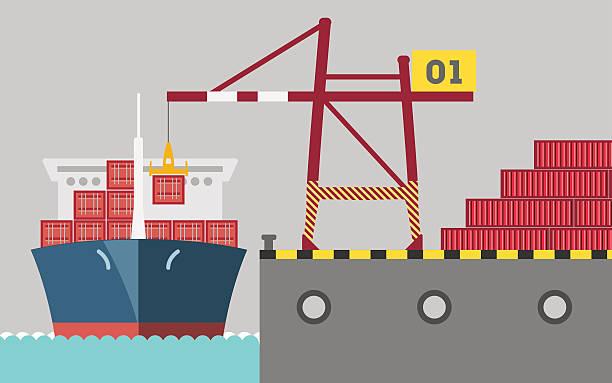 ilustrações de stock, clip art, desenhos animados e ícones de cargoport - porto