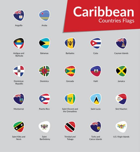 bildbanksillustrationer, clip art samt tecknat material och ikoner med västindien länder flaggor ikon samling - saint lucia