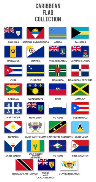 bildbanksillustrationer, clip art samt tecknat material och ikoner med karibiska flaggan insamling - saint lucia