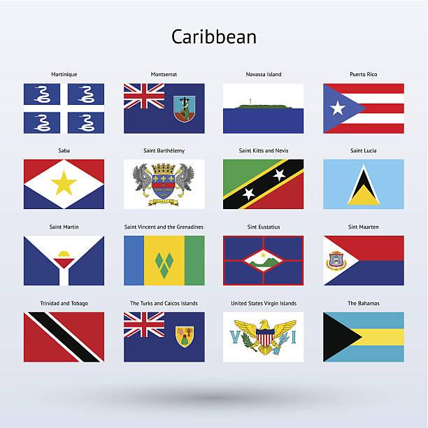 bildbanksillustrationer, clip art samt tecknat material och ikoner med caribbean flags collection (part 2) - saint lucia