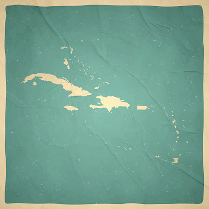 Caribbean map in retro vintage style - Old textured paper