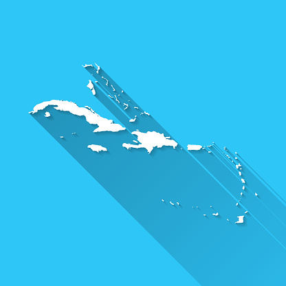 Caribbean map with long shadow on blue background - Flat Design