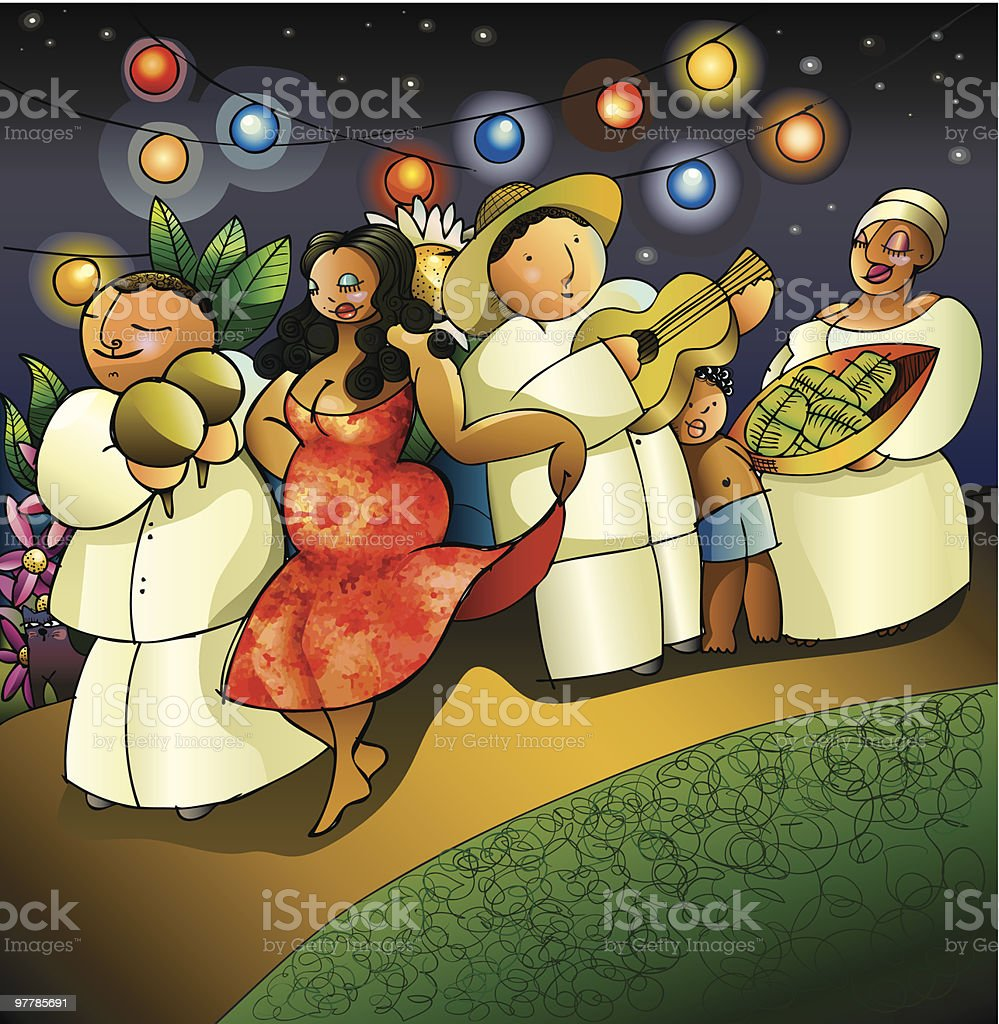 Caribbean town christmas street party royalty-free stock vector art
