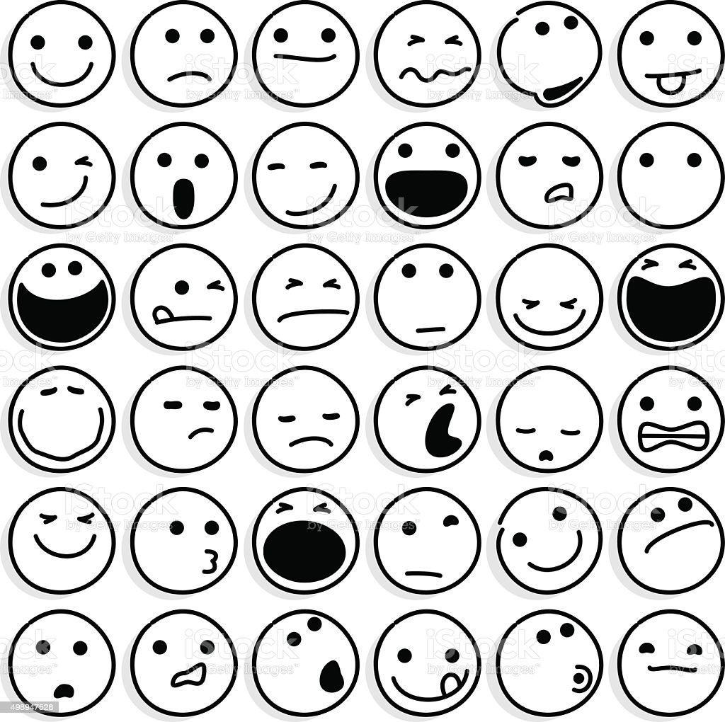 Caricature Emoticons on White vector art illustration