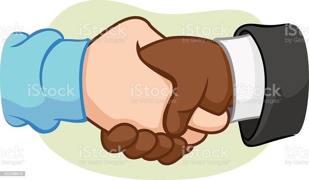 Caricature hugging interracial hand vector art illustration