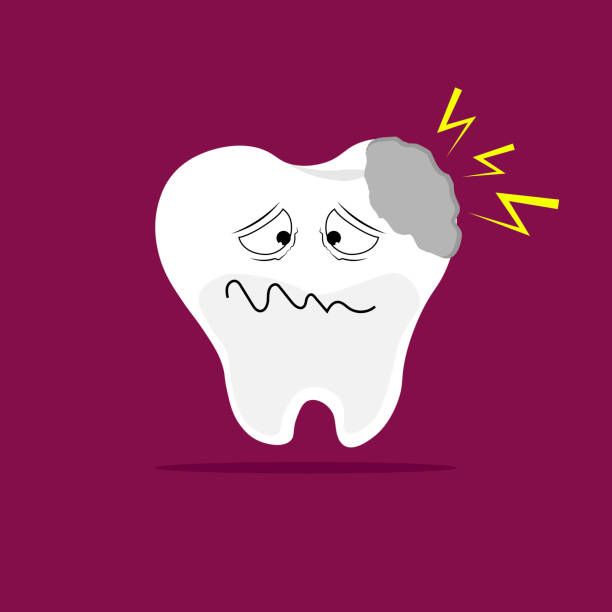 stockillustraties, clipart, cartoons en iconen met karikatuur van een tand met ongerust gemaakte uitdrukking. - tandpijn