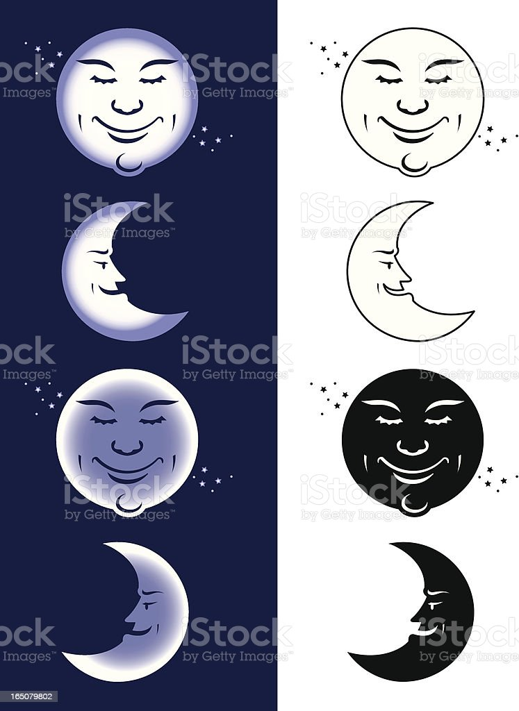 Caricature of moon phases in white and navy background vector art illustration