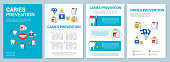 Caries prevention brochure template layout. Dental clinic. Flyer, booklet, leaflet print design with linear illustrations. Vector page layouts for magazines, annual reports, advertising posters