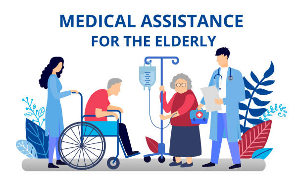 caring for an elderly person. medical assistance to the pensioner. old man on a wheelchair in a hospice. illustration in flat style for web banners and brochures. - nursing home stock illustrations