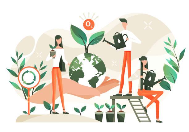 ilustrações de stock, clip art, desenhos animados e ícones de caring for nature - economia circular