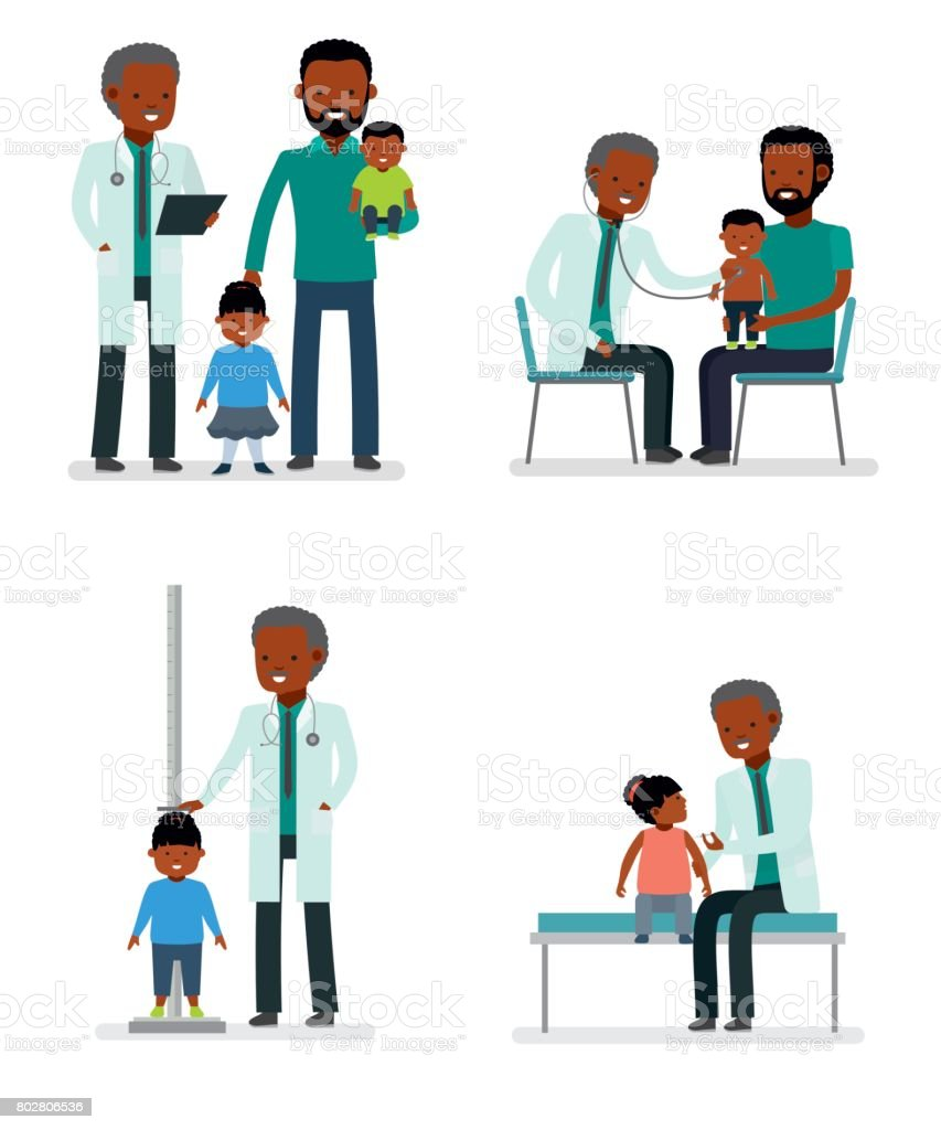 Caring for the health of the child. Set of pediatrician and the father with son and daughter on a white background. African American family. vector art illustration
