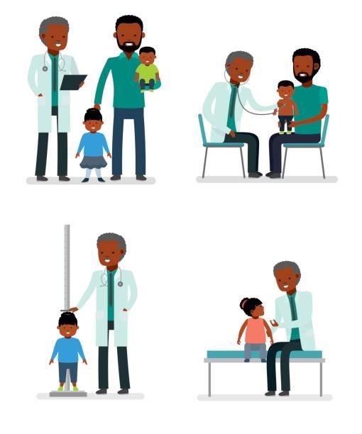 ilustrações, clipart, desenhos animados e ícones de cuidados com a saúde da criança. conjunto de pediatra e o pai com o filho e a filha em um fundo branco. família afro-americana. - pediatra