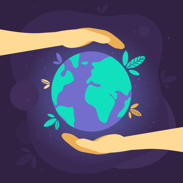 illustrazioni stock, clip art, cartoni animati e icone di tendenza di caring for the world - terra