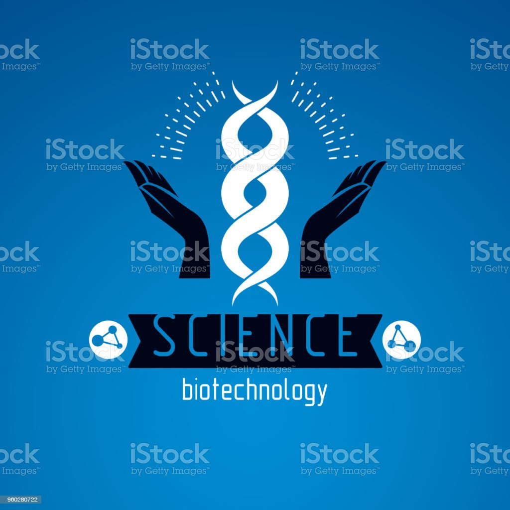 Caring Hands Hold A Model Of Human Dna Bioengineering As The