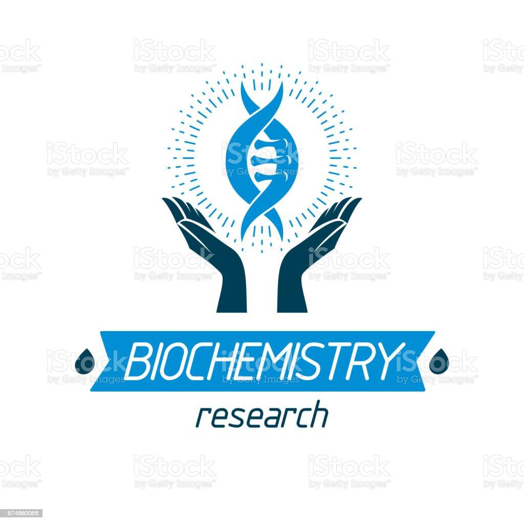 Caring hands hold model of human DNA. Bioengineering vector symbol vector art illustration