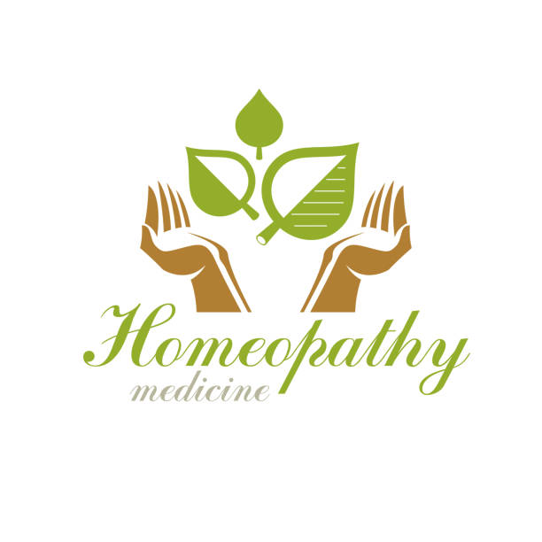 Caring hands holding green spring leaves. Medical rehabilitation abstract sign. vector art illustration