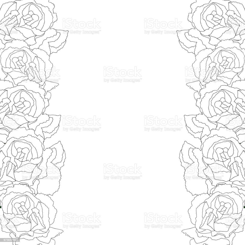 Carnation Flower Outline Border vector art illustration