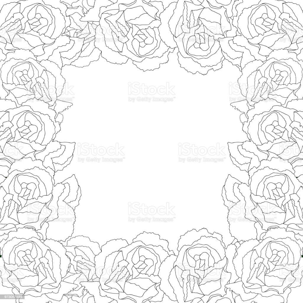 Carnation Flower Outline Border2 vector art illustration