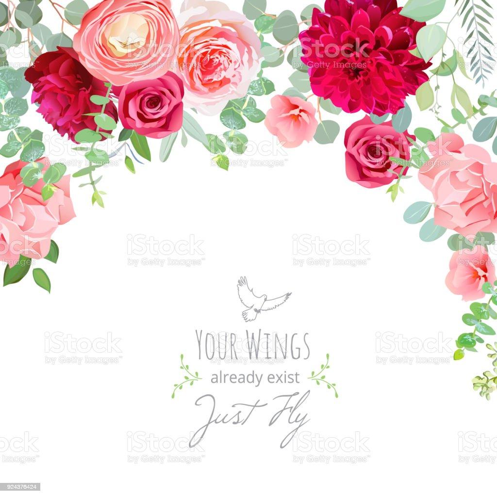 Anjer, rose, Boterbloem, dahlia, roze en Bordeaux rood flowevectorkunst illustratie