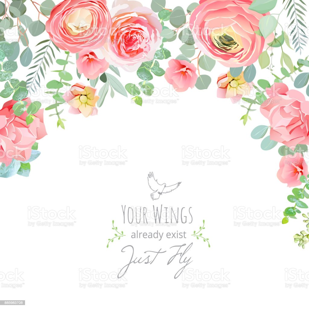 Carnation, rose, ranunculus, pink and peachy flowers card vector art illustration
