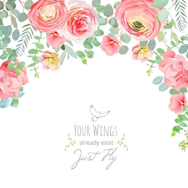Nelke, Rose, Ranunkeln, rosa und Pfirsich-Blumen-Karte – Vektorgrafik