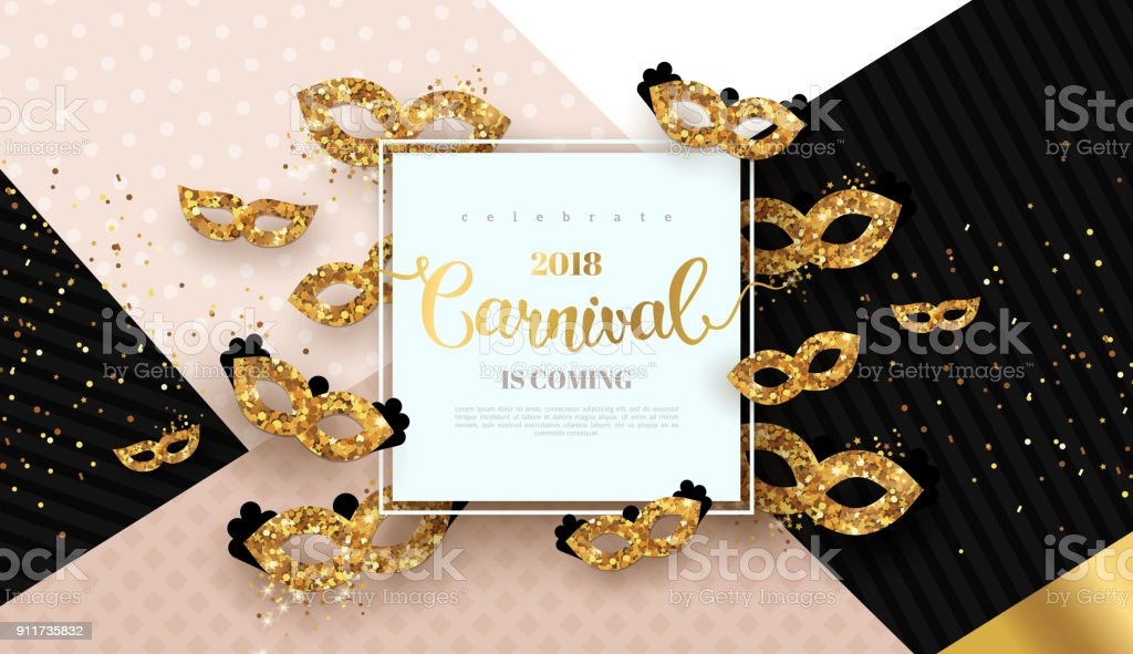Carnaval card with golden masks vector art illustration