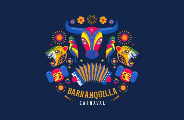 stockillustraties, clipart, cartoons en iconen met carnaval de barranquilla, colombiaanse carnavalsfeest. vector illustratie, poster en flyer - colombia land