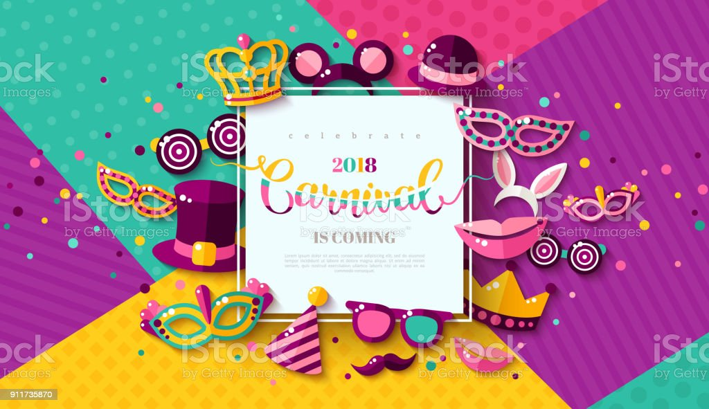Carnaval funfair card vector art illustration