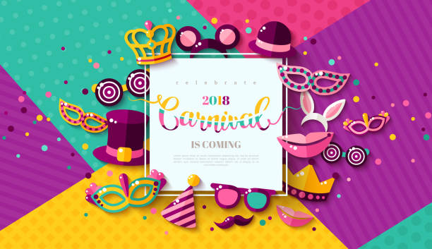 illustrazioni stock, clip art, cartoni animati e icone di tendenza di carnaval funfair card - sfondo feste e party