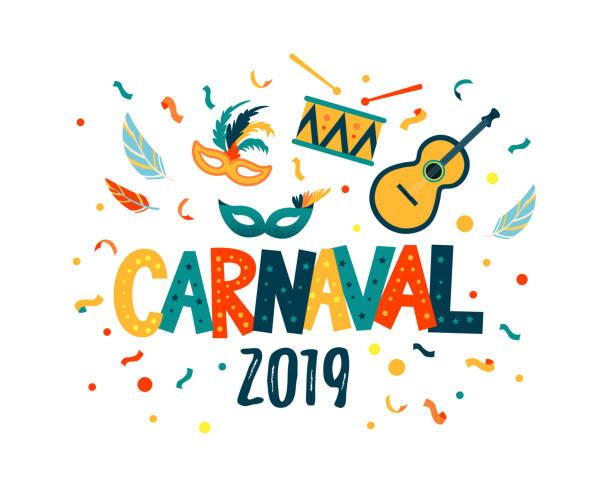 ilustraciones, imágenes clip art, dibujos animados e iconos de stock de carnaval mano letras texto como banner, tarjeta, logotipo, icono, plantilla de invitación. - carnaval