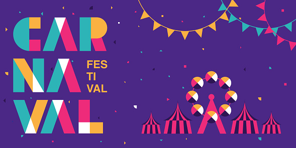 Carnaval Typography, Popular Event in Brazil. Festival, Colorful Party Elements ,Carnival, Travel destination. Brazilian , Geometry Graphic Design, vector illustration
