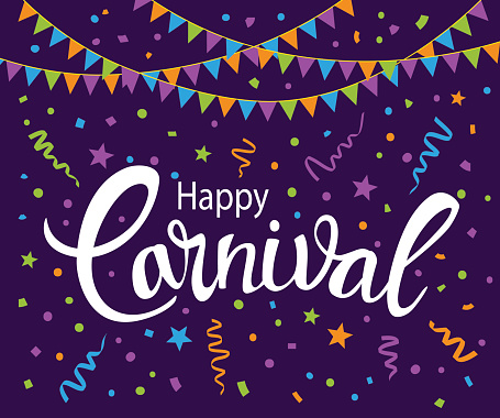Carnival abstract background with handwritten text, confetti and flag string garland