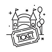Vector illustration of a black and white Carnival Amusement park and Fair admission entrance way with ticket stub thin line Icon set - editable stroke. Fully editable stroke outline for easy editing. Simple set that includes vector eps and high resolution jpg in download.