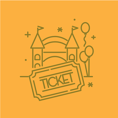 Carnival Amusement park and Fair admission entrance way with ticket stub thin line Icon set - editable stroke