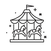 Vector illustration of a black and white line art Carnival Amusement park and Fair carousel thin line Icon set - editable stroke. Fully editable stroke outline for easy editing. Simple set that includes vector eps and high resolution jpg in download.