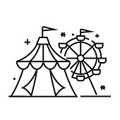 Vector illustration of a black and white line art Carnival Amusement park and Fair midway tent and Ferris Wheel thin line Icon set - editable stroke. Fully editable stroke outline for easy editing. Simple set that includes vector eps and high resolution jpg in download.