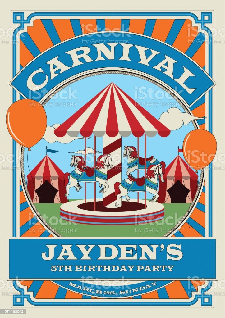 Carnival And Funfair Birthday Invitation Template Circus Tent Merry ...
