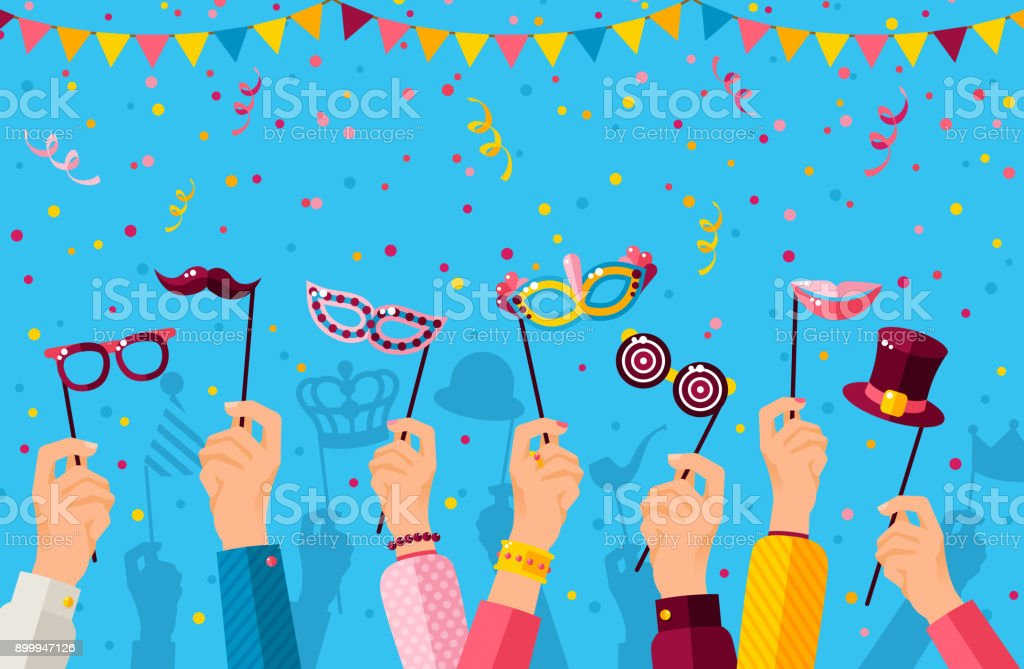 Carnival banner with carnaval masks on blue vector art illustration