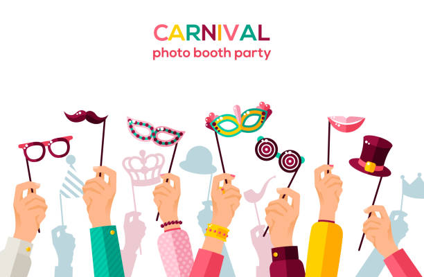carnival banner with carnaval masks on white - photo booth stock illustrations, clip art, cartoons, & icons