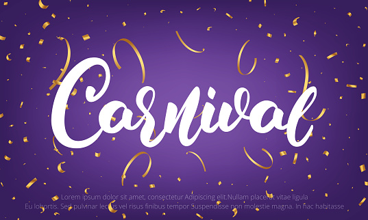 Carnival. Banner with Carnival lettering and gold shiny confetti
