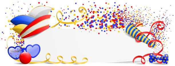 karnevalsbanner mit fool's cap und konfetti - köln stock-grafiken, -clipart, -cartoons und -symbole