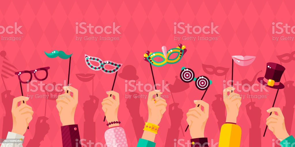 Carnival banner with hands holding carnaval masks vector art illustration