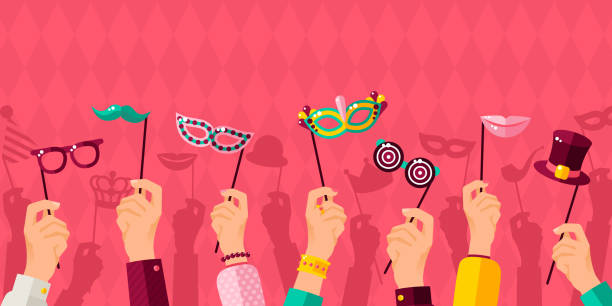carnival banner with hands holding carnaval masks - photo booth stock illustrations, clip art, cartoons, & icons