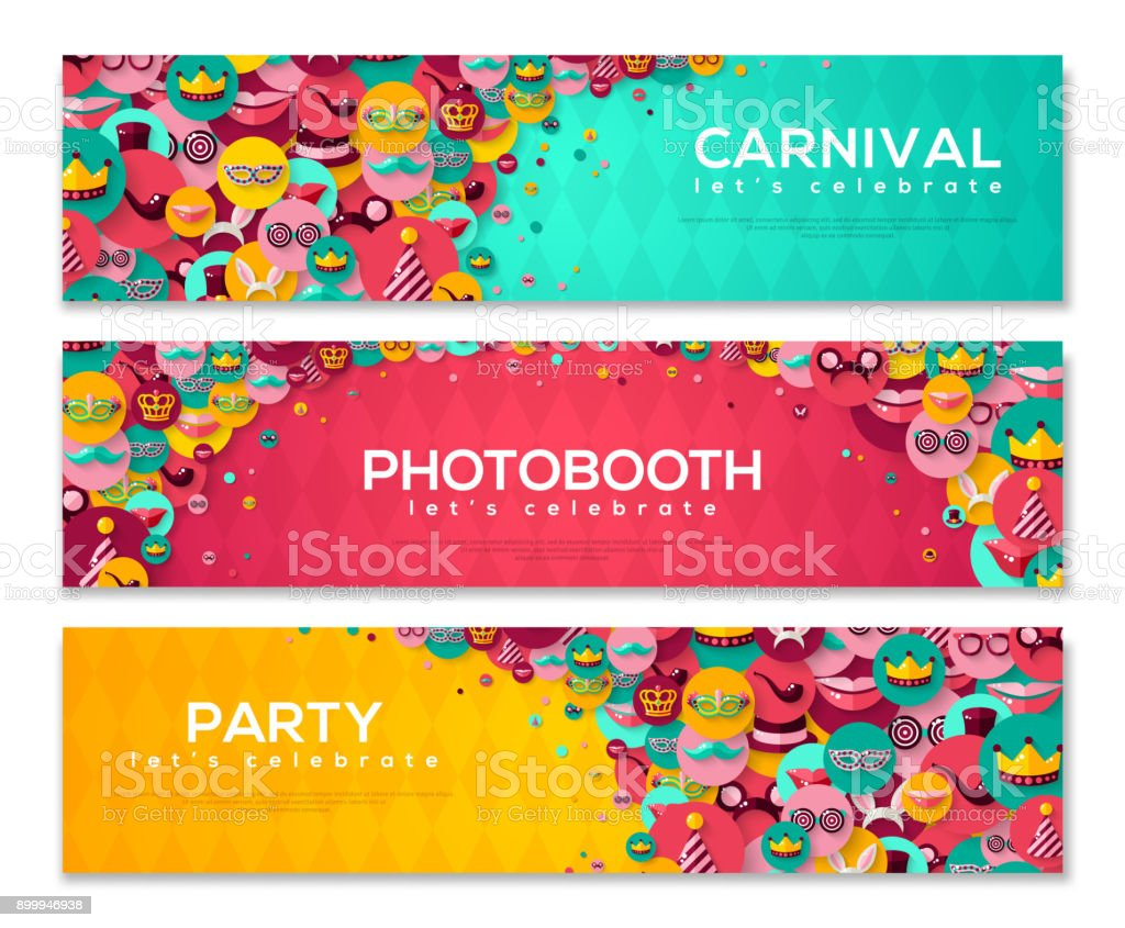 Carnival Banners with Flat Icons in Circles vector art illustration