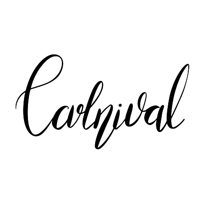 Carnival. Black lettering brush isolated on white background. Festive print calligraphic quote. Vector element
