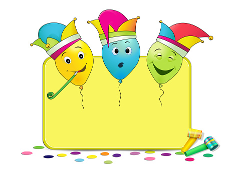 Carnival blank card with colorful and funny balloons, vector illustration isolated on white background