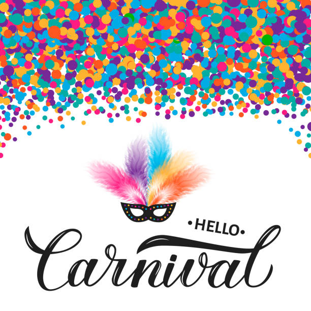 illustrazioni stock, clip art, cartoni animati e icone di tendenza di carnival calligraphy lettering with colorful confetti, mask and feather. masquerade party poster or invitation. vector template for carnival of venice, brazil, new orleans, oruro, nice, etc. - piume colorate
