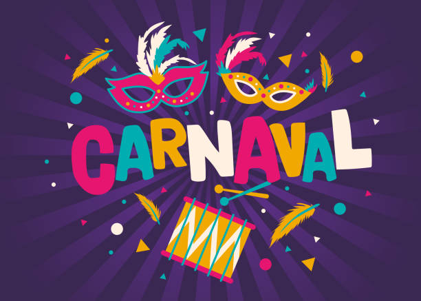 ilustraciones, imágenes clip art, dibujos animados e iconos de stock de tarjeta de carnaval o banner con diseño de tipografía, confeti y guirnaldas de bandera colgante - carnaval