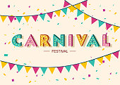 Carnival card or banner with typography design, confetti and hanging flag garlands