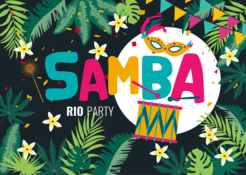 Carnival card or banner with typography design with tropical leaves